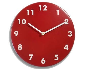Red wall clock. Modern wall clock. Numbers clock. Wood wall clock. Solid color on mdf, engraved numbers.  CL4015