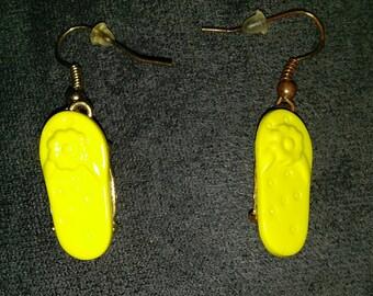 Yellow flip flop earrings