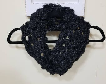 Black and Grey/Silver Cowl Scarf