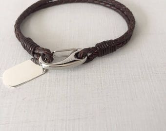 Summer Sale Children's Jewelry - Boys Leather Bracelet - Personalised Gift -