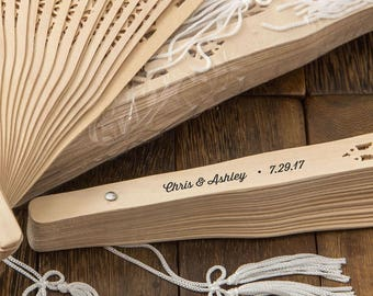 Personalized Sandalwood Rustic Wedding Fans (Pack of 10) Wedding Favors