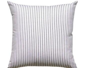 SALE Ticking Stripe Pillow Cover, Premier Prints Classic Black Pillow Cover, Black White Striped Pillow with Invisible Zipper, Black Sofa Pi