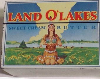 Tin Recipe Box 1977 Land O Lakes Butter With Original Index Cards Vintage