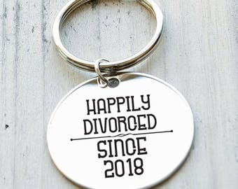 Happily Divorced Personalized Key Chain - Engraved