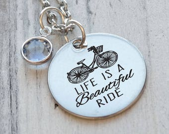 Life is a Beautiful Ride Bicycle Personalized Engraved Necklace