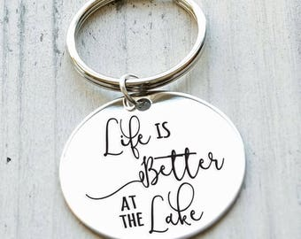 Life is Better at the Lake Personalized Engraved Key Chain Gift