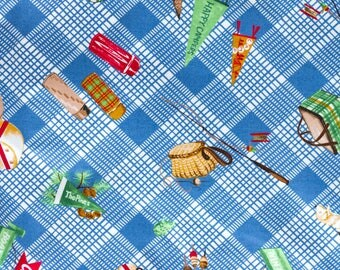 Happy Campers  Blue Plaid Fishing Gear by American Jane for Moda Fabrics Fat Quarter OOP HTF