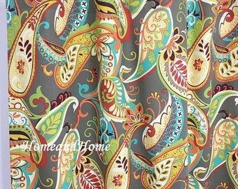 "Weekend Sale Paisley Curtains Drapery Panels Window treatment Covington Whimsy Paisley Mardi Gras plum yellow green 25"" x 84""  63 72 84 96 1"