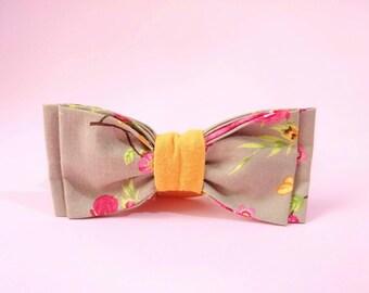 Floral Bow Tie, Beige Floral Bowtie, Boyfriend's Gift, Women Bow Tie, Pre tied Bow Tie, Woodland, Yellow Floral Bowtie, Cotton Bow Tie