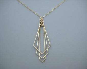 Art Deco Fan Necklace - minimalist statement wedding jewelry on 14kt gold filled chain, math teacher gift - Tiered Arrow