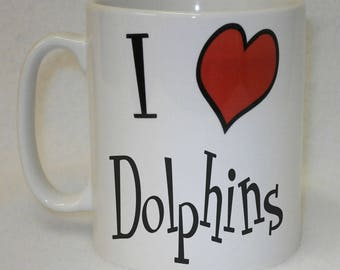 I Love Heart Dolphins Mug Can Be Personalised Any Name Great Animal Lover Gift