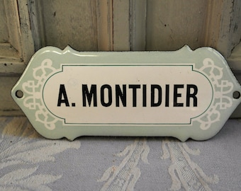 French enamel name sign door sign, a cute vintage black white and gray authentic 1930's door name plaque, industrial loft deco, Parisienne.