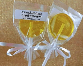 12 Banana Rum Punch Lollipops