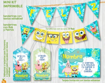 Spongebob and Patrick! Printable and editable texts kit. Baby shower or birthday party! INSTANT DOWNLOAD!