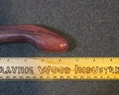 Handmade Curved Handcarved Purpleheart Exotic Wood Dildo - Purple Curl