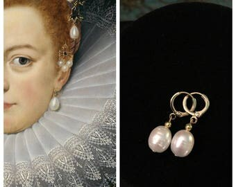 Gold PEARL Earrings, REAL Pearls, Reproduction 18th and 19th century FRESHWATER pearl earrings, New, lovely glowing teardrop Real pearl