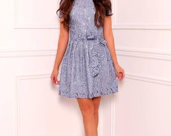 Dutch Blue Lace Mini Women's Dress  Round Neck Mini Sleeves