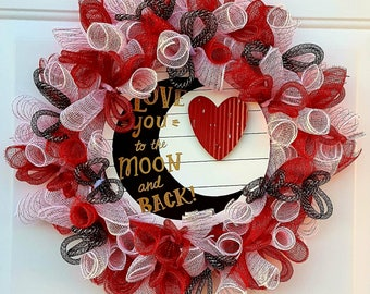 Valentines Day Wreath, Deco Mesh Valentines Wreath,
