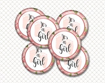 INSTANT DOWNLOAD- It's A Girl! Baby Shower 4x6 Digital Printable 1 Inch Circle Bottle Cap Images