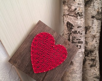 String Art Heart Sign Red Love