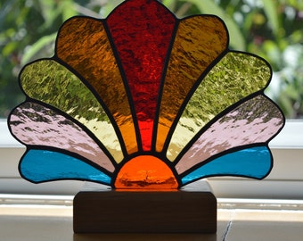 Stained Glass Fan Candle Holder