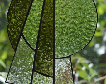 Abstract Design Stained Glass Suncatcher - Green