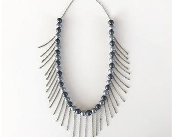 Pearl and oxidized fringe necklace - handmade polymer clay beads and nickel free chain