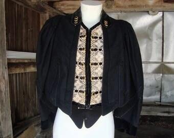 Antique Vintage Victorian Edwardian Black Wool Jacket Top with Lace, Velvet Trim