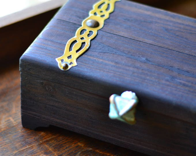 TREASURE CHEST BOX, card storage, tarot card storage, oracle deck, wood box, hinged wood box, box with lid