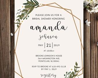 geometric bridal shower invitation   geometric bridal shower   geometric wedding   geometric wedding invitation   bridal shower   printable