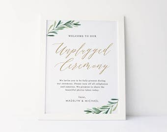 Unplugged Ceremony Sign, Wedding Unplugged Sign, Wedding Signs, Printable Wedding Sign, 8x10, Edit in Word or Pages, #SG