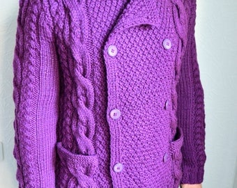 Hand knitted men's double-breasted cardigan