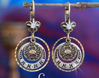 Cancer Earrings, Zodiac Jewelry, Cancer Jewelry, Zodiac Earrings, Astrology Jewelry, July Birthday Earrings, June Birthday Gift E1241-CN