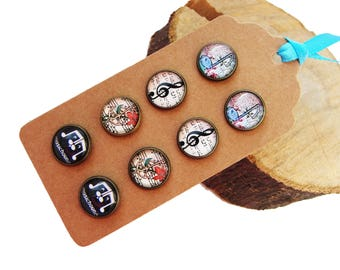 Stud earrings - single or set - Music - small post earrings, 12mm cabochons glass dome bezel photo image, music notes, treble clef, musician