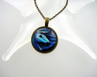Horse Photo Pendant - Glass Necklace - Theme Jewelry
