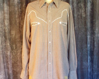 Vintage 1970s Mens JC Penney Western Shirt / 70s Mens Gingham Western Shirt / Pearl Snap Buttons