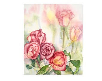 Watercolor painting ~Roses ~Art ~Watercolors ~Painting ~Original Artwork ~Flower art ~Gifts for Her ~Watercolor ~Rose Art ~rose painting