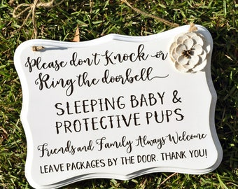 Large, Sleeping Baby Door Sign - Protective Pups Door Sign - Quiet Please Sign - Baby Shower Gift - Do Not Knock Sign - No Soliciting Sign