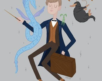 Newt Scamander, Fantastic Beasts and Where to Find Them, art print, 8x10