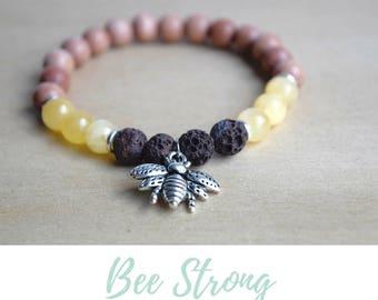 Jade Yoga Bracelet / bee jewelry gift, lava stones, nature lover gift, queen bee charm bracelet, prosperity abundance bracelet, bee bracelet