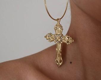Tough Love Cross Hoop Earrings - Gold Earrings - Hoop Earrings - Dangle Earrings - Cross Earrings - Large Hoop Earrings - Large Cross
