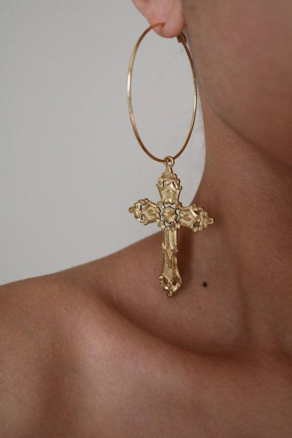 Tough Love Cross Hoop Earrings Gold Earrings Hoop Earrings