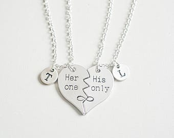 His and her gift, Couples necklace set, his hers necklaces, couple pendant, Broken Heart necklace ,boyfriend girlfriend gift, heart set