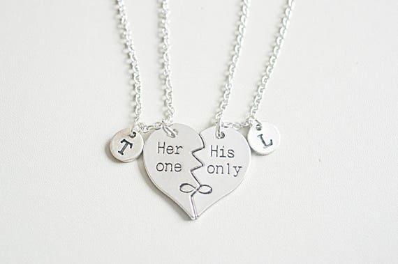 His and her gift couples necklace set his hers necklaces like this item mozeypictures Choice Image