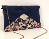 Navy blue wedding bag with Japanese coral flowers, gold glitter, WITH or without chain shoulder strap / evening bag / gold glitter clutch