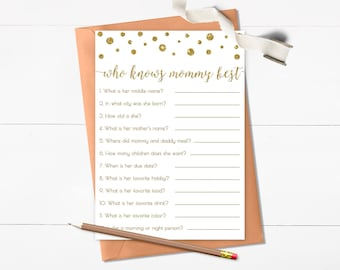 Who Knows Mommy Best Printable, Gold Baby Shower Game, How Well do You Know the Mommy To Be, Mommy Quiz, Instant Download - CG1