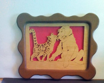 Framed picture of a cat and dog handmade item