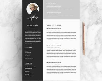 Resume Template And Cover Letter + References Template For Word | DIY  Printable 5 Pages |  Creative Design Resume