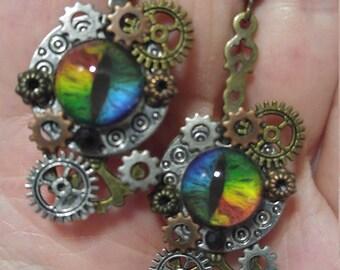 Rainbow Dragon Eyes on Silver Disc; Steampunk Inspired Earrings