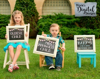 Set of 3 PRINTABLE Chalkboard Pregnancy Announcement Photo Props Oldest Middle Youngest Child Signs / Baby #3 Reveal Photoshoot - JPEG files